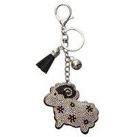 10pczoshi novidade cristal ovelha chaveiro chaveiro titular chaveiro metal keyring para mulheres bolsa de carro pingente jóias