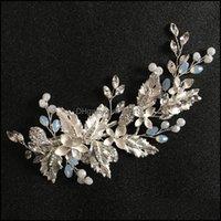 Jewelryslbridal Sier Color Crystal Rhinestone Flower Wedding Clip Barrettes Bridal Headpiece Aessories Women Hair Jewelry Drop Delivery 2021