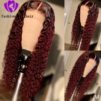 180% Ombre Red Burgundy Color Lace Front wig kinky Curly simulation Human Hair Wigs For Black Women Pre-Plucked synthetic hair wig