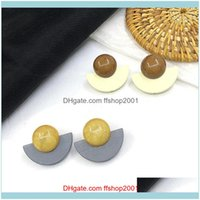 Jewelry1Pair Fashion Acrylic & Wood Ear Post Stud Earrings Yellow Brown Half Round Women Party Club Statement Jewelry Drop Delivery 2021 Hw6