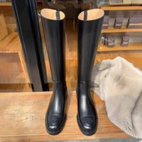 Boots Knight Black Leather Knee High Women Chunky Heels Cowboy Western Round Head Winter