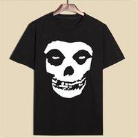 Hillbilly Chegada 100% Algodão Misfits Skulls Imprimindo camisetas Cinzento Verão Camisetas Homens Manga Curta O-pescoço Tees Tops