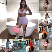 Women tracksuit Outfits 2021 summer new Designer Fashion women's V neck pure color sexy suspender Leisure Sports Shorts Two-piece sets