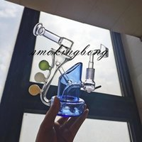 푸른 유리 물 봉지 비커 봉 클리린 리사이클 오일 장비 Dabber Heady 유리 물 담뱃대 Percolater 사이클론 허브 연기 파이프 14mm Banger