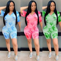 Women's Tracksuits Zoctuo Women Tie Dye Club Two Piece Set V-Neck T-Shirt Shorts Pants 2021 Summer Fashion Short Sleeve Casual 2 Sets