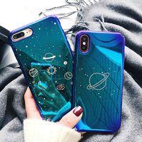 Blu-Ray Glitter Telefone Casos Eletrodometrão Planeta Capa Caso Luxo Chapeamento Shell para iPhone 7 8PLUS XR X MAX 11 12 Pro