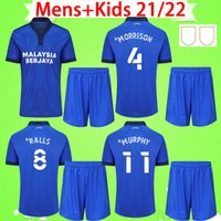 Hommes + Kids Kit 2021 2022 Cardiff Soccer Jerseys Garçons Ensembles City Moore 21 22 Camisetas de Fútbol Morrison Ralls Murphy Honett Leandro Marlon Adults T-shirt de football
