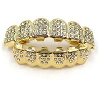 Gold Grills Hip Hop Gold Iced Out Cz Diamonds Teeth Top Silver Hiphop Jewelry Gold Teeth Grillz Rhinestone Top&botto wmtNfr bdegarden