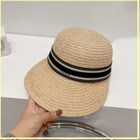 Women Wheat Straw Baseball Hats Bucket Hat Casquette Designers Caps Hats Mens Womens Fashion Stripe Bonnet Summer Beach Fitted Cap 21072703R