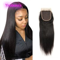 5 Pieces One Lot Straight Peruvian Human Virgin Hair 4X4 Lace Closure With Baby Hairs Top Closures Middle Three Free Part Natural Color Body Wave