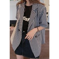 Women's Suits & Blazers 2021 Fashion Loose Short-Sleeved Casual All-Match Plaid Suit Jacket