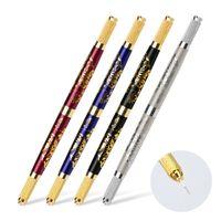 اليدوية الحاجب الوشم الأقلام لمضاعفة إبرة شفرة التطريز اثنين من رؤساء ماكياج دائم microblading القلم مع أربعة ألوان صغيرة موك