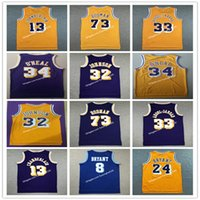 NCAA Mens'in Sporları Vintage Dennis Rodman Kareem Abdul-Jabbar Shaquille 34 O'Neal Wilt # 13 Chamberlain Spor Jersey Dikişli
