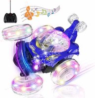 RC Stunt High Speed Tumbling Vehicle 360 Degree Rotating Dual Mode Climbing with LED Light Music Remote Control Car Toys