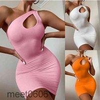 Women Casual Dresses 2021 summer new Designer Fashion women's sexy shoulder bag hip dress simple Solid color Slim sleeveless vest Short skirt meet0606