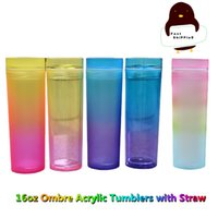LOW MOQ 16oz Gradient Acrylic Skinny Tumblers with Straw Lid Double Walled Reusable Plastic Cups in Rainbow Colors Portable Ombre Office Coffee Mugs DIY Custom Logo