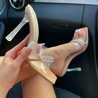 Sandals 2021 Rhinestone Sexy Ladies Slides Female Transparent High Heels Pumps Women Shoes