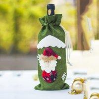 Jute décorations de vin xmas bouteille de champagne couvre sacs dîner drawstring sacs décoration de Noël décoration santa claus ornements gwe8534