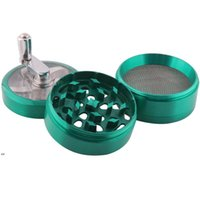 Hand Crank Tobacco Herb Smoking Grinder 4 Layers 63mm Large Zinc Alloy Grinders Cigarette Spice Crusher With Handle Sharpstone LLF8602