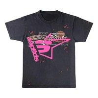 الرجال النساء 1: 1 أفضل جودة رغوة الطباعة العنكبوت نمط ويب تي شيرت أزياء الأعلى تيز الوردي شاب البلطجة sp5der 555555 تي شيرت