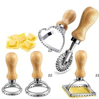 Ravioli Stämpel Maker Cutter Pasta Press Verktyg med Trähandtag Präglat Biscuit Mote Cake Pastry Golding Tools Hwe8485