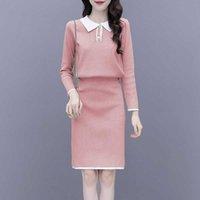 Kadın Kintted Etek Takım Elbise Sonbahar Moda Uzun Kollu Örme Tops Mini İki Parçalı Setleri 210529