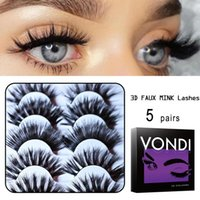 False Eyelashes VONDI 5 Pairs 3D Faux Mink Lashes Thick Fluffy 15-25mm Soft Extension Wholesale For Professionals