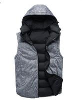 2021 Sıcak Moda Tasarımcısı erkek Yelek Ceket Aşağı Kalınlaşmış Sıcak Çift Taraflı Kapüşonlu Yelek erkek Spor Eğlence Soğuk Proof Pamuk Yelek