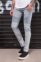 Jean de l'homme en jeans homme, jean, représente des concepteurs de vêtements Pantalons SLP Bleu / Noir Détruit Hommes Slim Denim Skinny Hommes déchirés 28-38