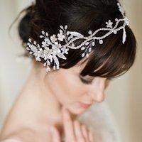 الفضة الزفاف عقال كريستال الزفاف أغطية الرأس زهرة اكسسوارات للشعر للنساء تيارا زهرة فتاة كرمة أغطية الرأس SCHP348