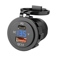 IP66 Water Proof 12V DC Power Delivery QC3.0 Dual Type-c 5V 3A USB Motorcycle Cigarette Lighter Socket Charger Connector