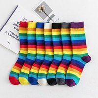 Fashion Autumn Striped Rainbow Women Socks Japanes Ins Trend Cute Tube Socks for Ladies Colorful and Funny 405