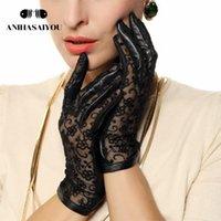 Осенние кожаные перчатки женские овчины Перчатки из овчины тонкие нескользванные кружева солнцезащитный крем кожаные сенсорные перчатки - L023N 201020