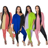 Women's Tracksuits Womens Tracksuit Contrast Color Patchwork 2 Piece Set Autumn Clothes Deep V Neck Half Sleeve Loose Long Top And Skinny Le