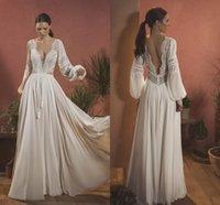 Bohemian Lace A Line Wedding Dress Long Lantern Sleeves Plunging V Neck Sexy Bridal Gowns Boho Country Open Back Floor Length Beach Chiffon Vestido De Novia AL9364