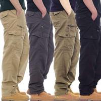 Pantaloni da uomo Pantaloni di cotone Cargo da uomo con tuta dell'esercito Allenamento tattico Allenamento tattico Pantaloni dritti Outwear Casual Multi Pocket BAGGY