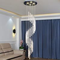 Yüksek Tavan Kristal Avize LED Oturma Odası Için Asılı Lambalar Otel Spiral Merdiven Avize LED Luster Işık Bar Fikstür