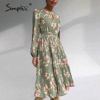 Simple elegante bloemenprint vrouwen ronde hals lange mouw ruches vakantie jurk midden taille herfst winter jurken