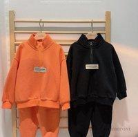 Boys sports clothing sets kids long sleeve sweatshirt+double pocket trouser 2pcs autumn children casual outfits Q2277