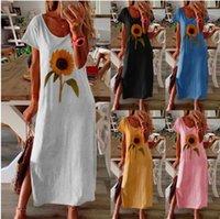 Сплошные подсолнечники повседневные платья с коротким рукавом Empire старинные платья летняя экипаж шеи флористические плюс размер oemle дневной одежды