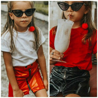 Kızlar Kısa Deri Etek Fermuar Bebek Kısa Etek Yarım Etek Bebek Kız Miniskirt Çocuk Etekler Katı Renk 420 U2