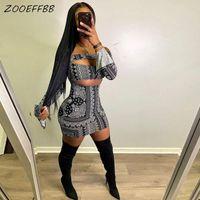 ZooEffbb PLUS Taille Vêtements Aesthétiques Bandana Off Epaule Manche à manches longues Mini Robe Sexy Hollow Out Outfits d'anniversaire pour femmes