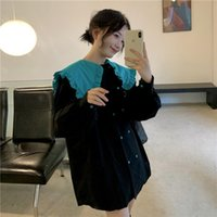 Casual Dresses Large Size Doll Collar Dress Female Autumn And Winter Korean Version Loose Contrast Double Breasted Shirt