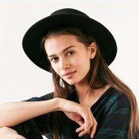 Wide Brim Hats Fashion Wool Pork Pie Boater Flat Top Hat For Women's Men's Felt Fedora Gambler