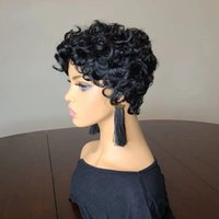 Short Curly Brazilian Human Hair Wig Natural Black Color Bob None Lace Front Wigs for Women 150 Density Daily Wear