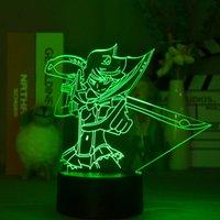 Zabij La-Kill 3D Led Night Lights Czujnik Ryuko Matoi Rysunek Nightlight Anime Fans Kids Room Decor Urodziny Prezent Kontrola aplikacji
