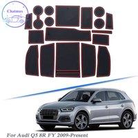 Avec la marque de voiture Logo 18pcs Car Styling pour Audi Q5 8R FY 2009-Plate en latex Plaque de porte de la porte de la porte intérieure Tapis de poussière antidérapante Tapis antidérapant