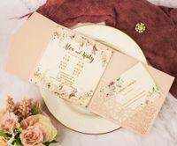 Envío gratis 1 unids luz rosa azul marino azul corte láser tri-plegado tarjetas de invitación de boda envolvimiento personalizado bolsillo invita rsvp