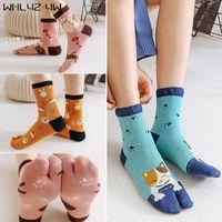 Street Fashion Women Girl Two Finger Socks Colorful Japanese Style Cat Cartoon Harajuku Happy Socks With ToesNovelty
