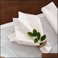 Textiles & Garden12Pcs Wedding Party Dinner Table White Cloth Napkin Restaurant Home Napkins Cotton Linen Handkerchie 4 Size Drop Delivery 2